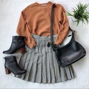 Vintage Plaid Pleated Black And White Skirt
